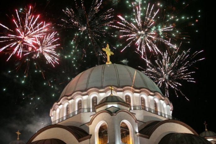 Sv. Sava mit Feuerwerk