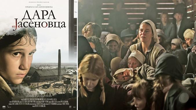 Filmplakat und Szene aus Dara iz Jasenovca