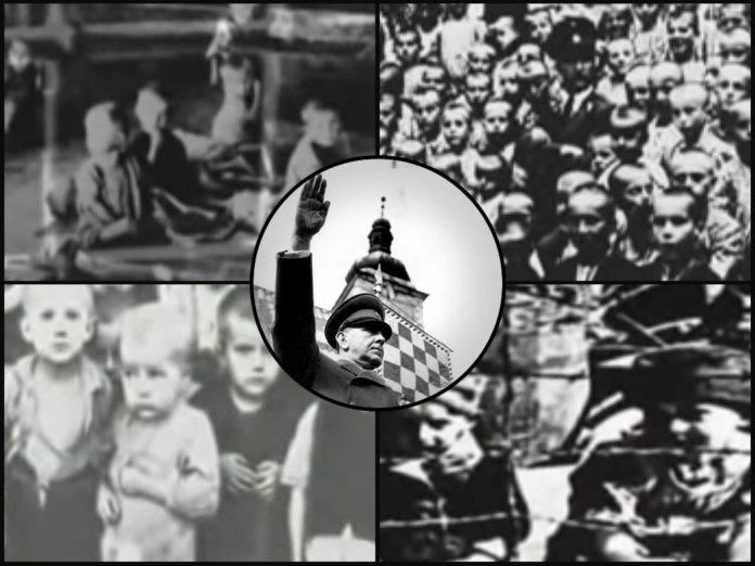 Collage mit Ante Pavelic, Bildern aus Jasenovac und Ustascha