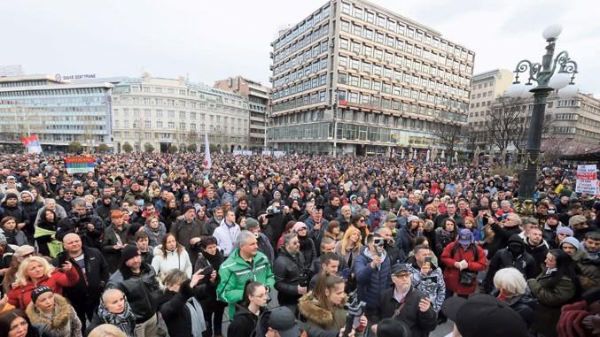 Anti-Coronademo in Belgrad