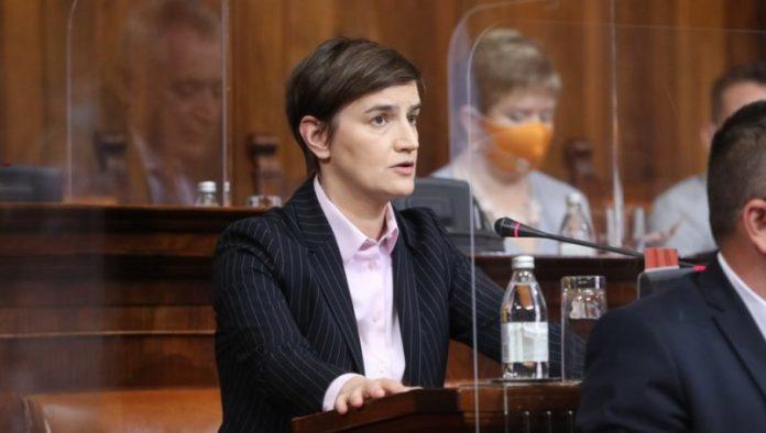 Premierministerin Ana Brnabic spricht in der Skupstina