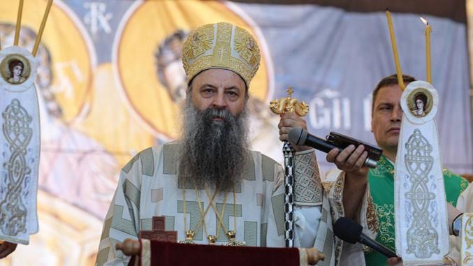 Patriarch Porfirije spricht in Gracanica