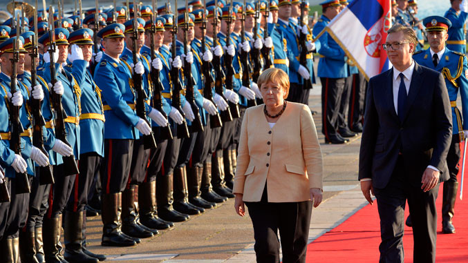 Merkels Ankunft in Belgrad